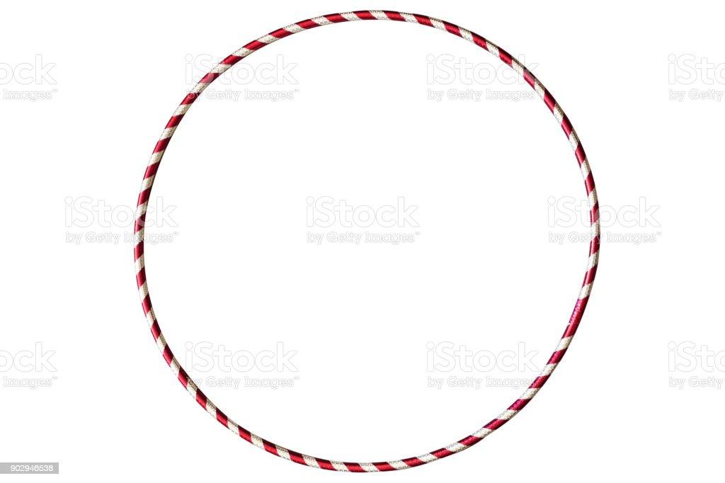 Prata de Hoop hula com vermelho isolado no fundo branco. Equipamentos de ginástico de plástico - foto de acervo
