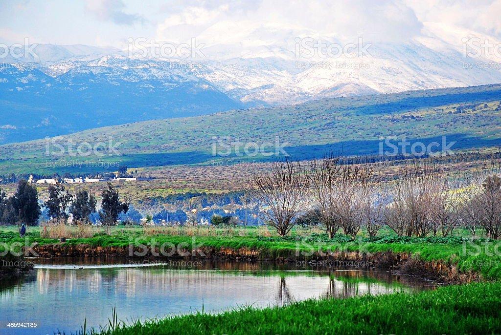 Hula Lake and Mount Hermon stock photo