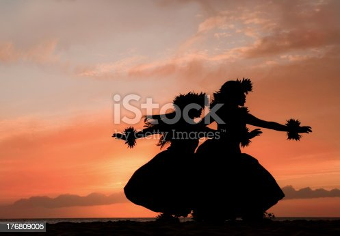 Two Hawaiian hula dancers move gracefully before the warm glow of the tropical sunset.