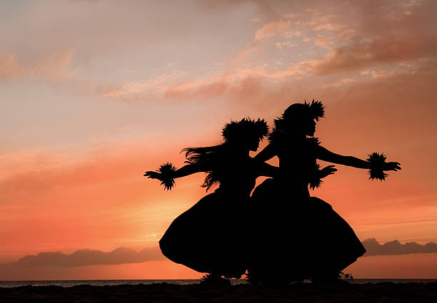 hula sisters dance in hawaiian sunset - pacific islands stock pictures, royalty-free photos & images