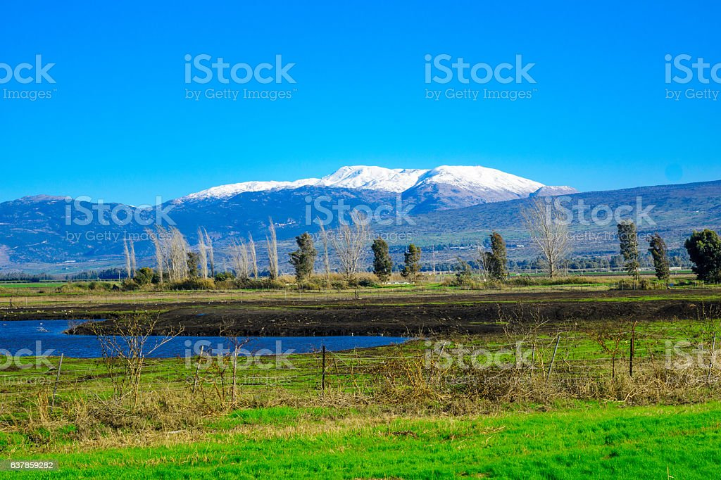 Hula Valley and Mount Hermon, Northern Israel stock photo
