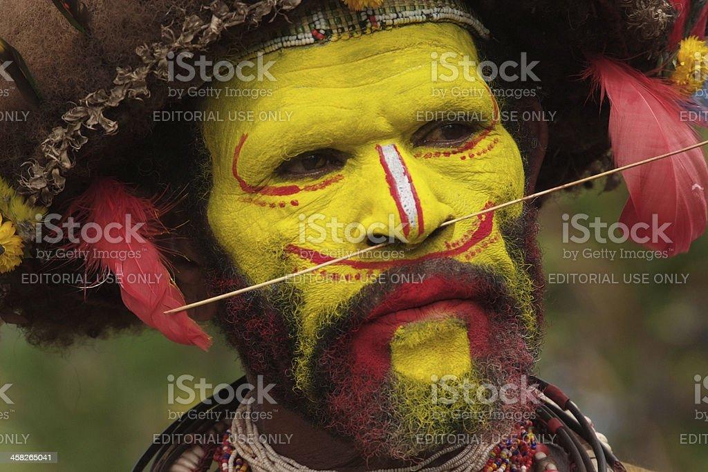 Huli Wigman Warrior, Papua New Guinea stock photo