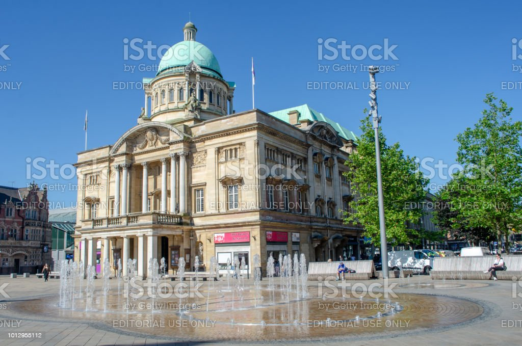 Hull City Hall with fountain in Foreground stock photo