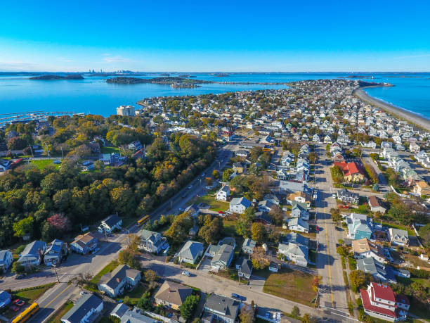 Hull MA with boston in distance Drone / aerial view above Hull / Nantasket Beach massachusetts hull stock pictures, royalty-free photos & images