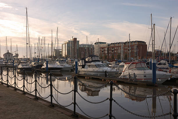 Hull Marina Hull Marina, East Yorkshire at twilight. hull stock pictures, royalty-free photos & images