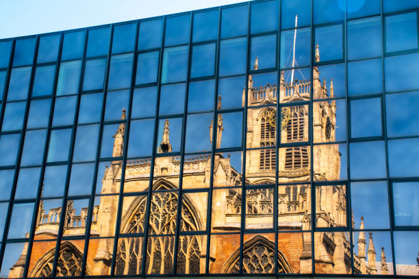 Hull Minster Church reflected in Glass from office block Hull Minster Church reflected in Glass from office block hull stock pictures, royalty-free photos & images