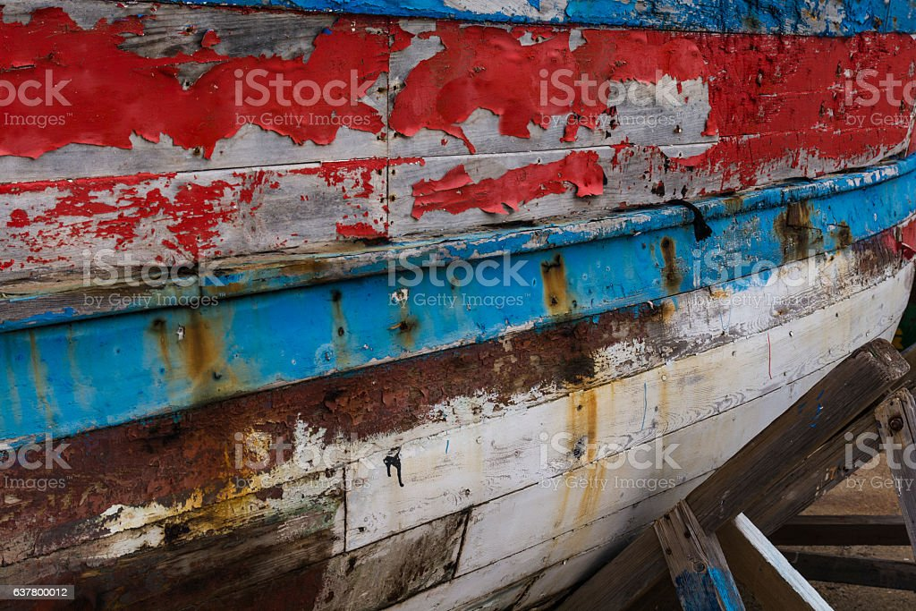 Hull of an old fishing boat stock photo