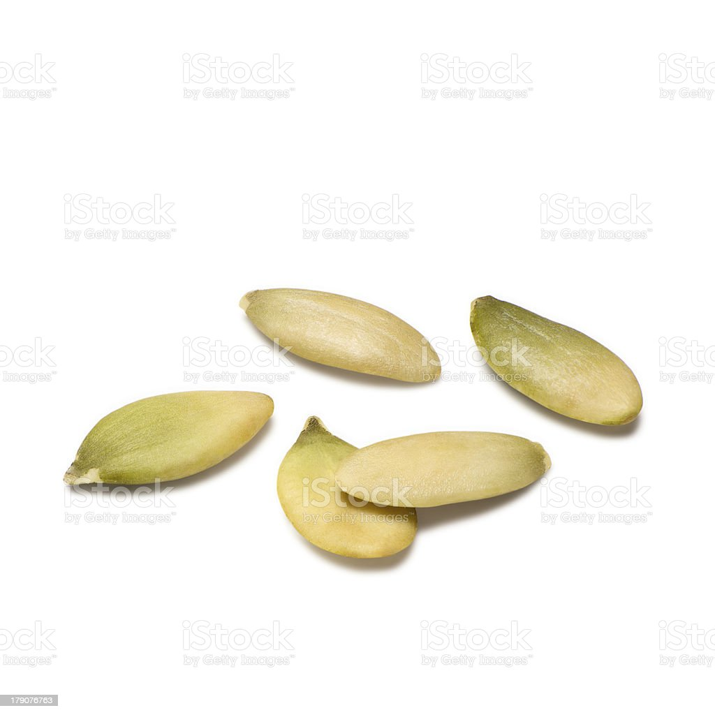Hulled pumpkin seeds stock photo