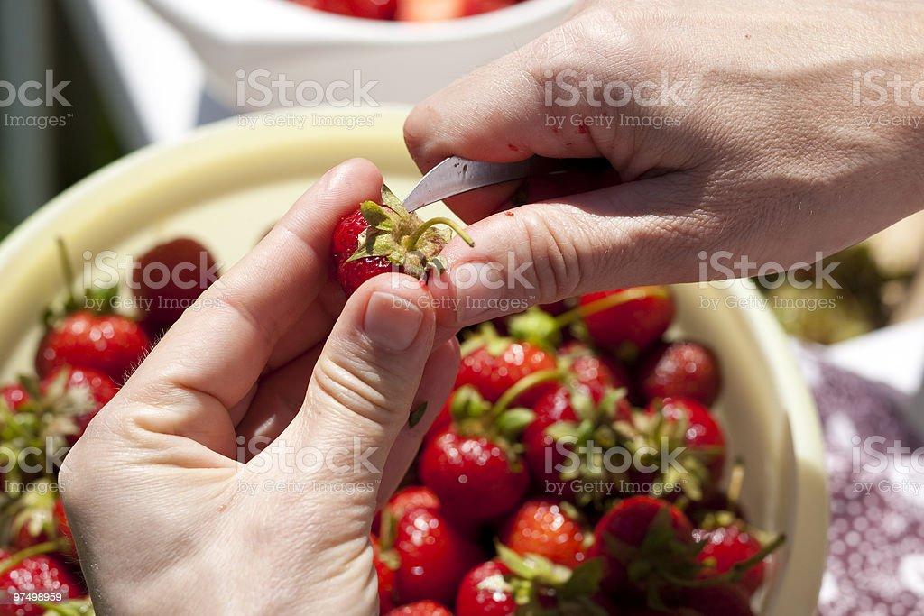 Hulling a strawberry royalty-free stock photo