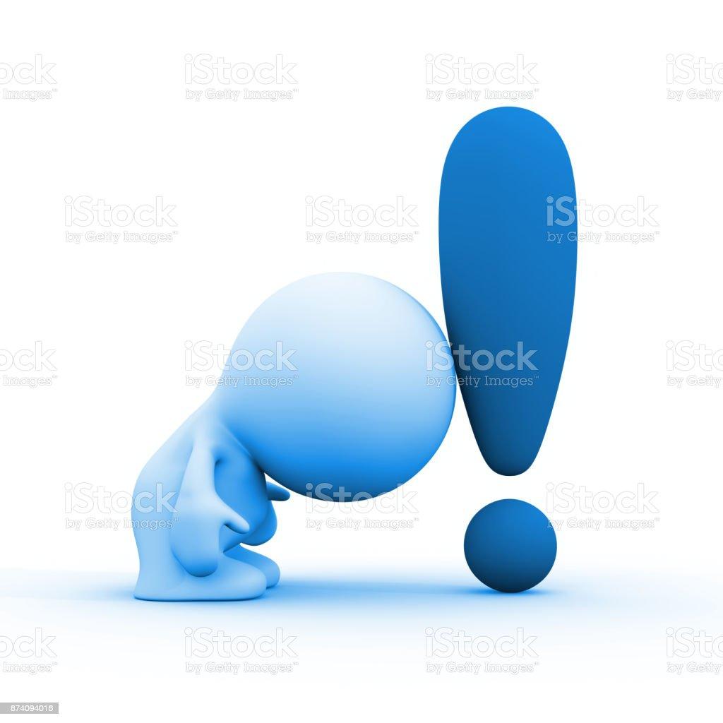 3d persona apoyándose en un signo de exclamación azul - foto de stock