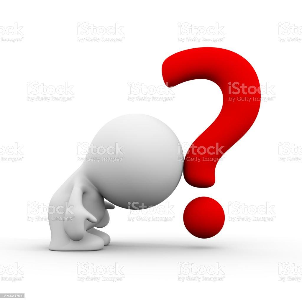 3d persona apoyándose en un signo de interrogación rojo (ilustración 3d sobre un fondo blanco) - foto de stock