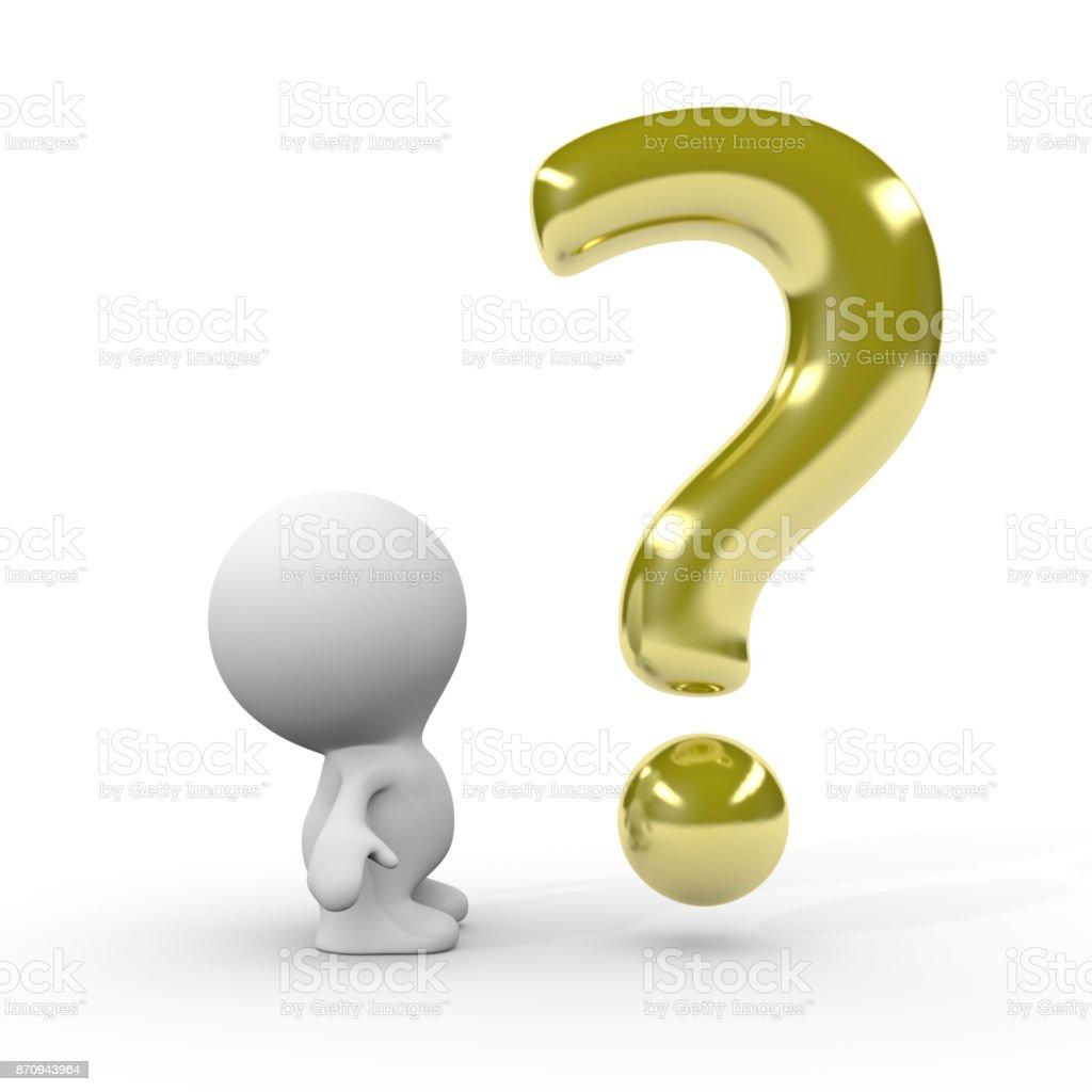 3d persona mirando de oro signo de interrogación (ilustración 3d sobre un fondo blanco) - foto de stock