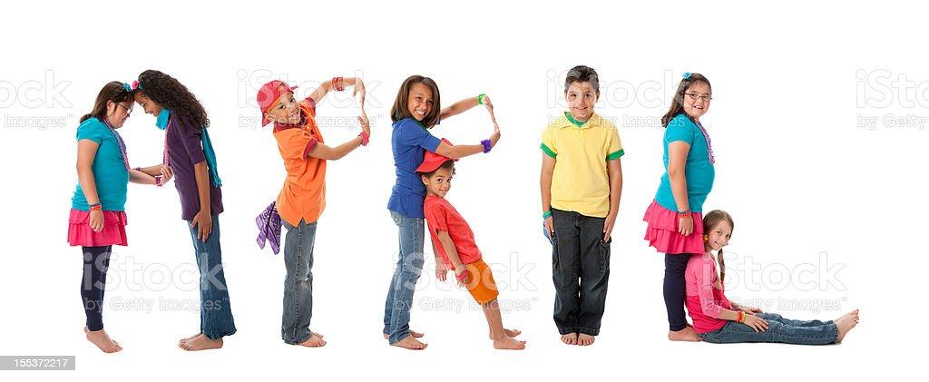 Human Alphabet Calendar: Diverse Children Colorful Letters Month of April royalty-free stock photo