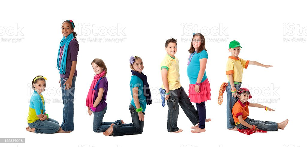 Human Alphabet Calendar: Diverse Children Colorful Letters Month of June royalty-free stock photo