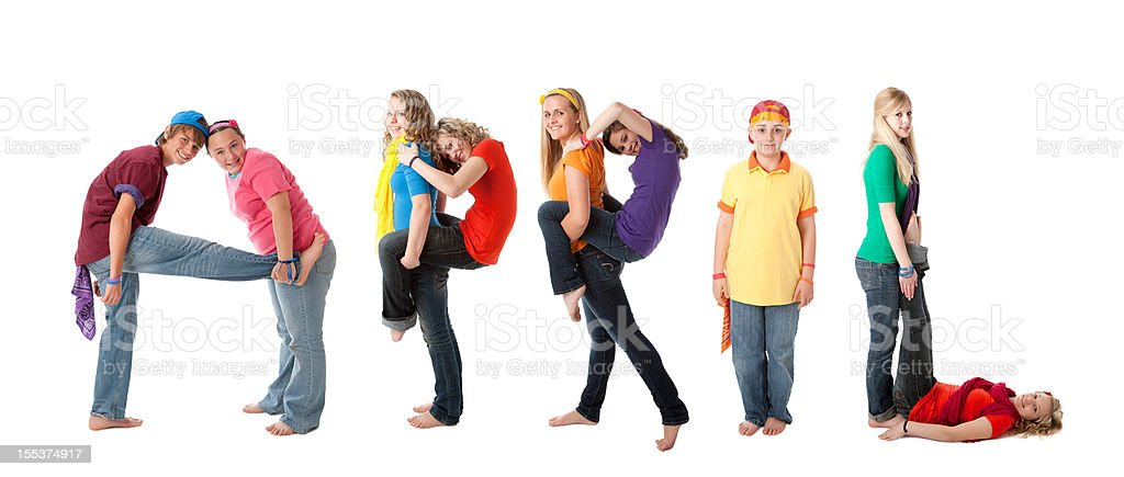 Human Alphabet Calendar: Diverse Teenager Colorful Letters Month of April royalty-free stock photo