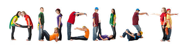 Human Alphabet Calendar: Diverse Teenager Font Colorful Letters Month August stock photo
