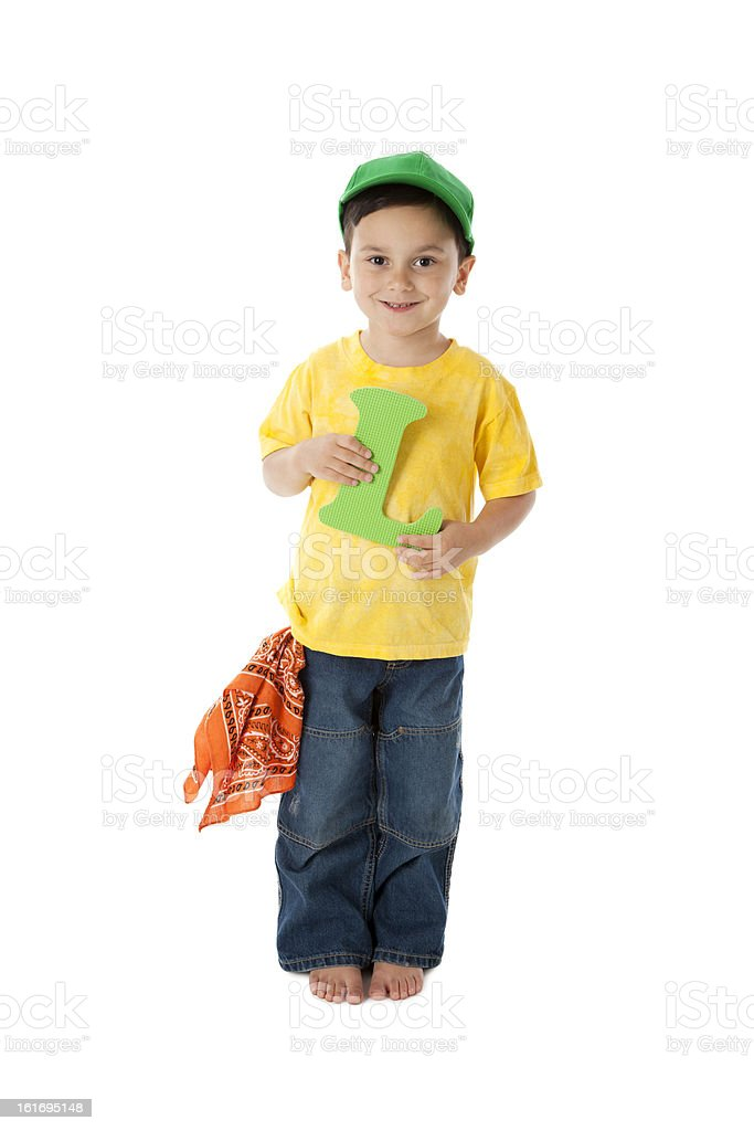 Human Alphabet: Children Caucasian Young Boy Font Colorful Lette royalty-free stock photo