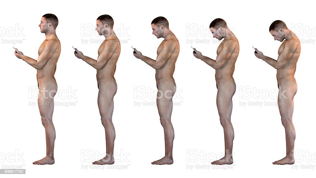 Human anatomy showing wrong postures of using the phone stock photo