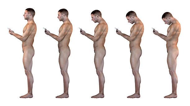 human anatomy showing wrong postures of using the phone - smartphone addiction not groups stock pictures, royalty-free photos & images