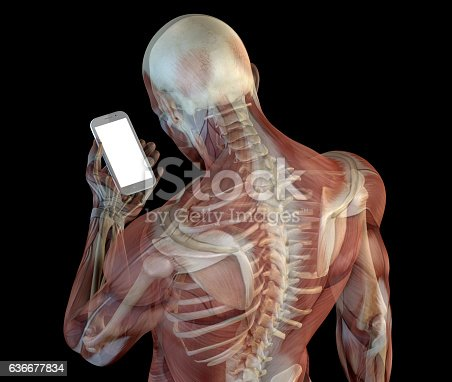 Human anatomy showing wrong postures of using the phone. Wrong angle look at the device screen, causing a problem called