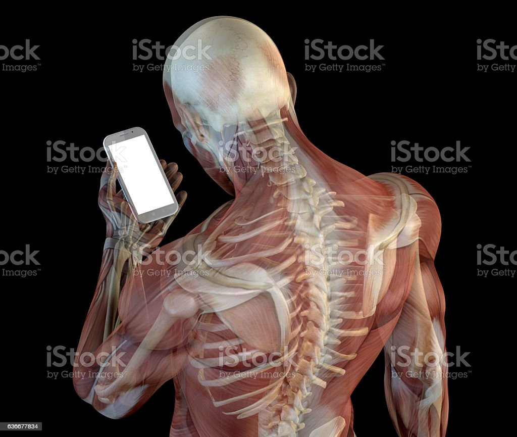 Human anatomy showing wrong postures of using the phone - foto de stock