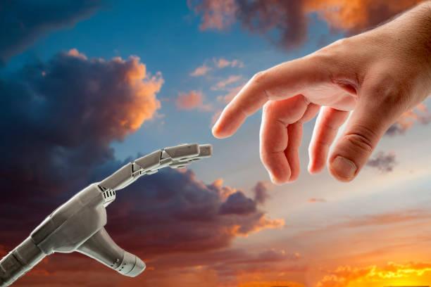 människa och robot koncept med en modern spinn på skapelsen av adam av michelangelo, där i stället för gud ger liv till adam, ger en människa liv till sin skapelse en robot - adam hand god bildbanksfoton och bilder