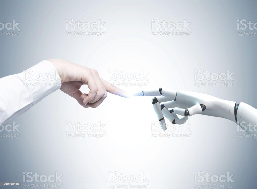 Mensch und Roboter Hände auszustrecken, grau – Foto