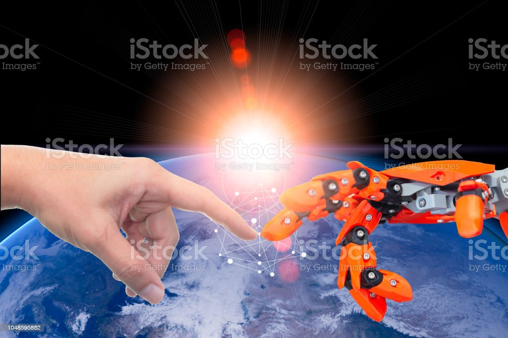 Human and robotic automate technology era connected for future world concept.Elements of this image furnished by NASA stock photo