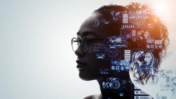 concepto humano y tecnológico. ia (inteligencia artificial). red de comunicación. - inteligencia artificial fotografías e imágenes de stock
