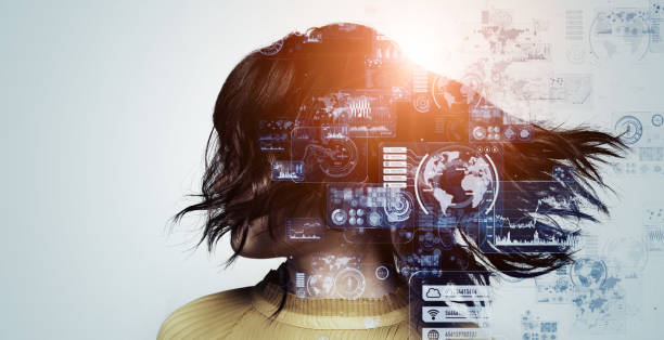 人間と技術の概念。ai(人工知能)。通信ネットワーク。 - デザイン ストックフォトと画像