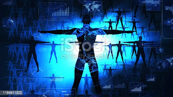1127070103 istock photo Human and technology concept. IoT (Internet of Things) concept. Communication network. 1194611022