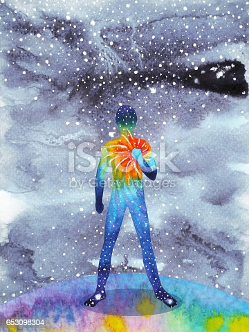 istock human and universe power, watercolor painting, chakra reiki, inspiration abstract thought, world, universe inside your mind 653098304