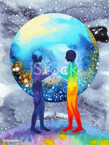 istock human and universe power, watercolor painting, chakra reiki, inspiration abstract thought, world, universe inside your mind 653098392