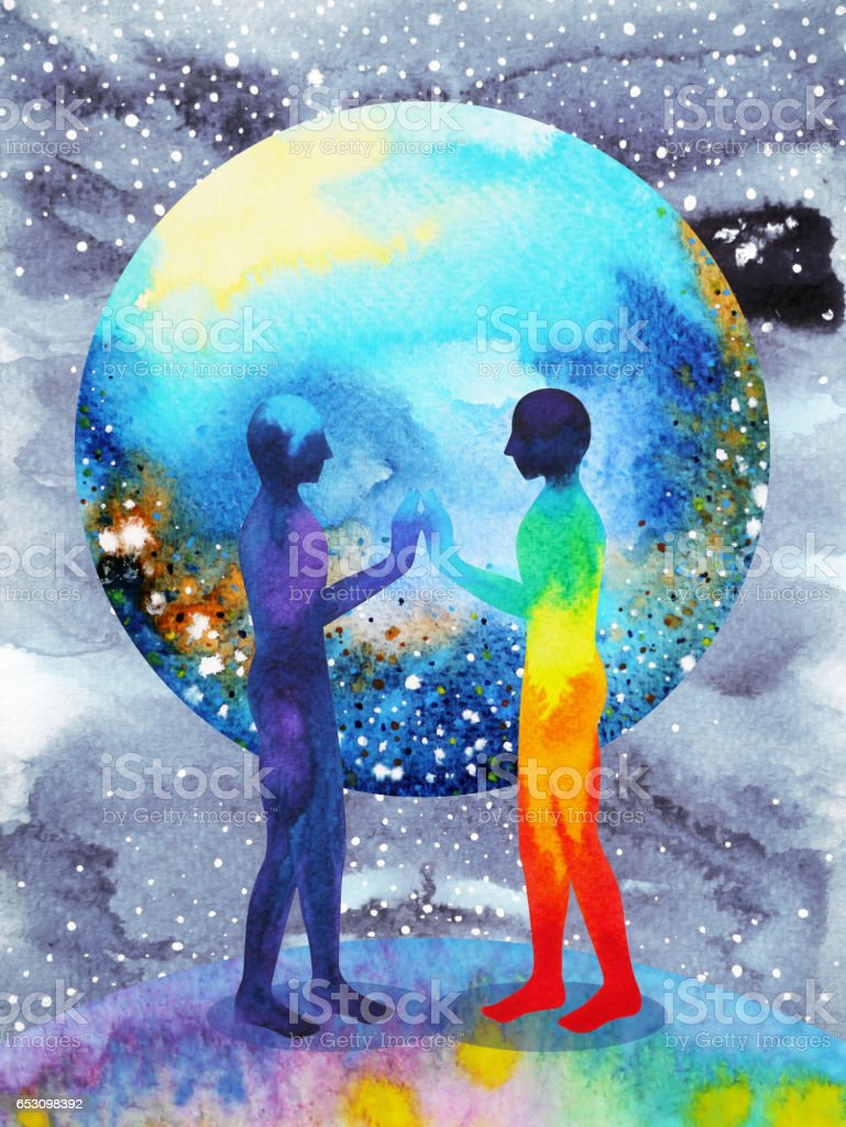 human and universe power, watercolor painting, chakra reiki, inspiration abstract thought, world, universe inside your mind stock photo