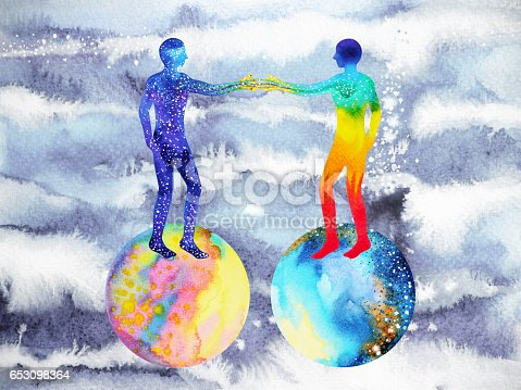 istock human and universe power, watercolor painting, chakra reiki, mastermind abstract thought, world, universe inside your mind 653098364