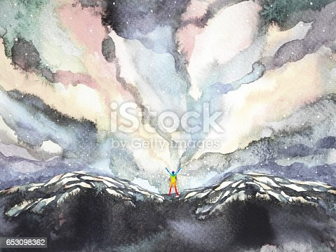 653098388istockphoto human and universe power, watercolor painting, inspiration abstract thought, world, universe inside your mind 653098362