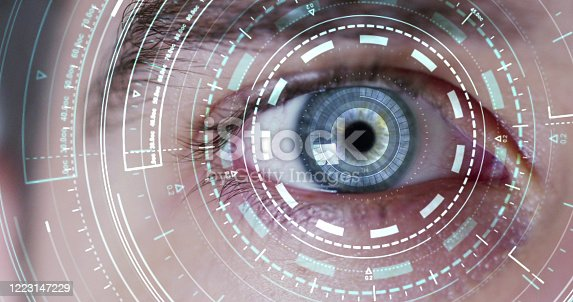 Human being futuristic vision, vision and control and protection of persons, control and security in the accesses. surveillance system, immersive technology