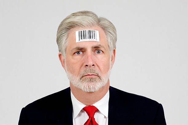 human being with bar code - dehumanize stock pictures, royalty-free photos & images