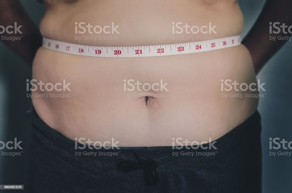 Close-up of human body and fat body, Fat body part of paunch or...