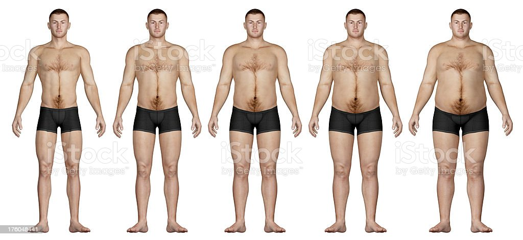 Human body for study, from slim man to the overweight stock photo