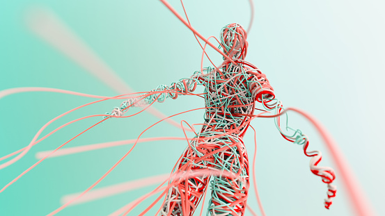 istock Human body made of entangled wires 1200775661