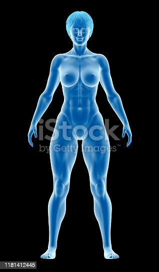 496193203istockphoto Human body of a fitness woman, standing, showing an athletic body, highlighting your muscles, on black background 1181412445