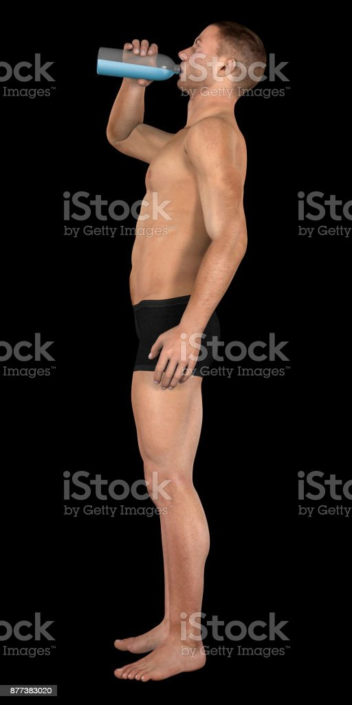 Human body of a man drinking water bottle stock photo