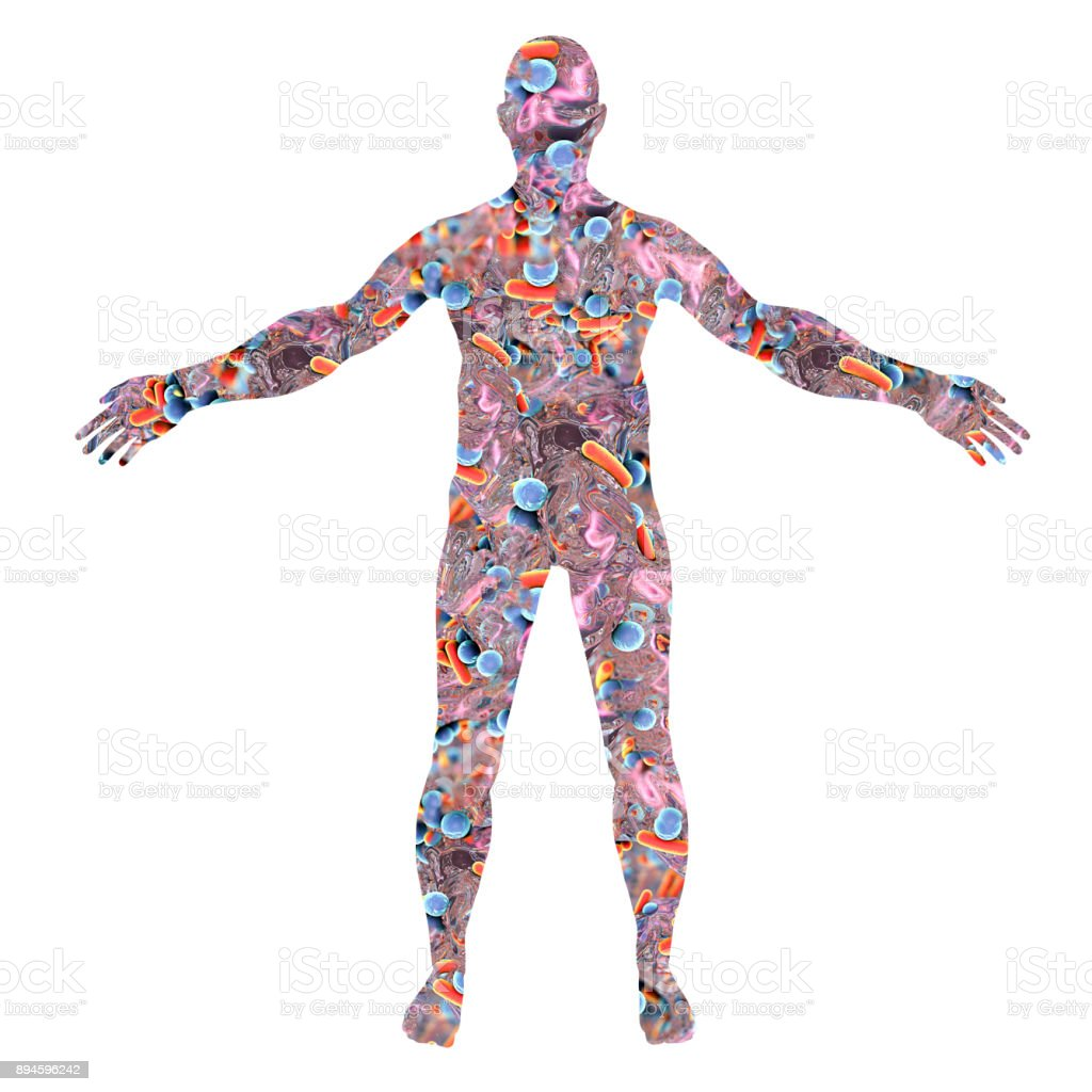 Human body silhouette made from bacteria stock photo