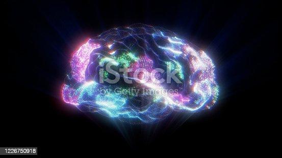 Human Brain Activity Hologram on Black Background