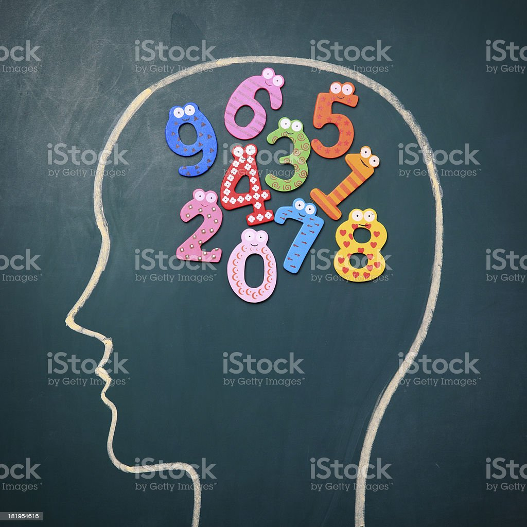 Human brain and colorful digit royalty-free stock photo
