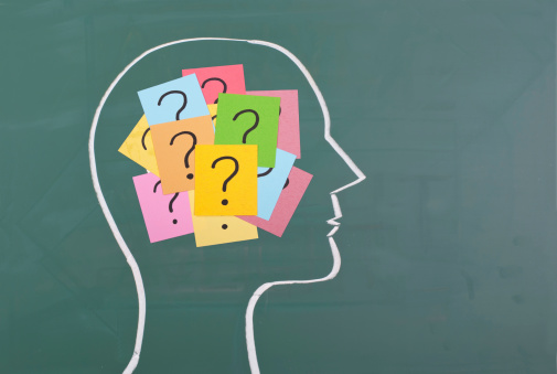 Human Brain And Colorful Question Mark Stock Photo - Download Image Now
