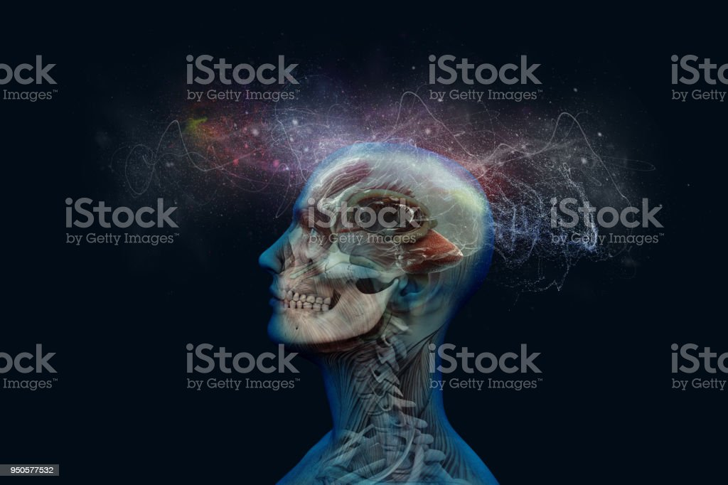 Human brain and its capabilities. Conceptual vision. stock photo