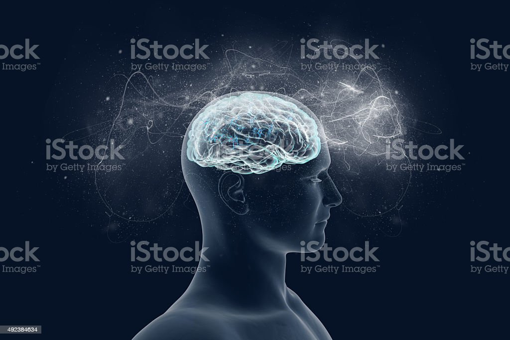 Human brain and its capabilities. stock photo