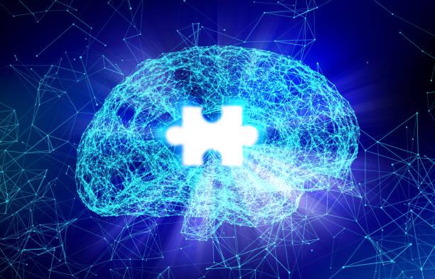 human brain and jigsaw for alzheimer's disease in the form of artificial intelligence for technology concept, 3d illustration - alzheimer imagens e fotografias de stock